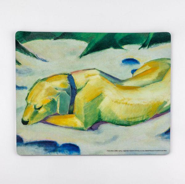 """Mousepad """"Liegender Hund im Schnee"""""""